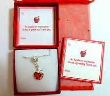 Thank you Gift Teacher at End of Term On Gift card as shown Red Apple Necklace
