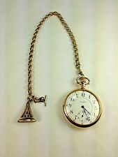"Antique GF POCKET WATCH CHAIN, J.F.S.S. 12"" w Wax Fob End"