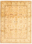 """Vintage Hand-knotted Carpet 9'0"""" x 12'4"""" Traditional Tan Wool Area Rug"""
