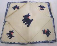 "Vintage Tablecloth & 4 Napkins Needlework Blue Scottie Dogs 32"" Square"