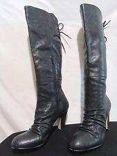 Seychelles Black Leather Tall Riding Boots Knee High Heel Side Zip Womens Sz 7.5