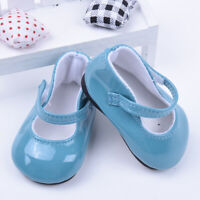 Handmade Blue Leather Boots Shoes For 18inch Doll Kids Party Toy B7C7