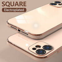 Case For iPhone 12 Pro Max 11 XS XR 8 7 Square Straight Edge Plating Soft Cover