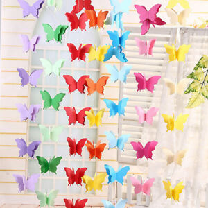 3D Paper Butterfly Hanging Garland Bunting Banner Party Baby Shower Decor