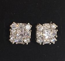 18K  White Gold 3.15 Carat Diamond Cluster Stud Earrings