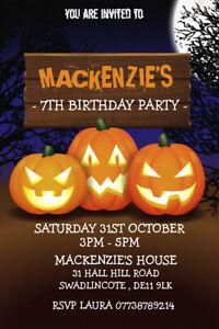 Personalised Halloween Spooky Pumpkin Birthday Party Invites