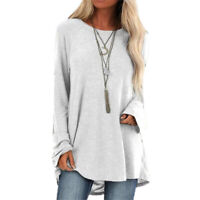 Casual Loose Lady Autumn Long Sleeve Round Neck T-Shirt  Pullover Blouse Tops