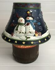Yankee Candle Christmas Jar Topper Snowman Lamp Shade Holiday Snow Blue Green