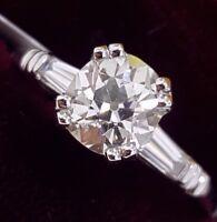 Vintage 1.50ct Antique Cushion Mine Cut Diamond Baguette Engagement Ring 1.80ctw