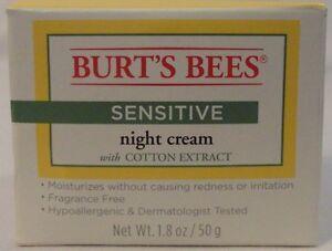 Burt's Bees Sensitive Night Cream Hypoallergenic Fragrance Free Allergy Tested