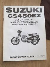 Original factory Set-up Manual Suzuki GZ450EZ April 1982
