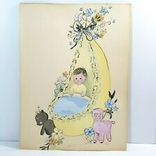 Mcm Watercolor Painting Nursery Baby Boy Lamb Teddy Crib Original 1968 Signed