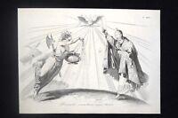 Incisione d'allegoria e satira Papa Pio IX, Austria, Francia Don Pirlone 1851