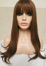 Light Brown Synthetic Full Wig Long Bangs