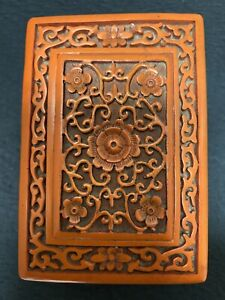 Old Chinese red lacquerware carving box