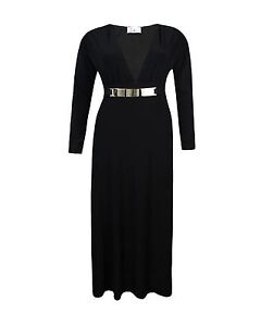 LADIES WOMENS LONG SLEEVES V NECK PLUNGE BODYCON EVENING MAXI DRESS SIZE 8-14