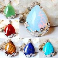 Natural Quartz Crystal Stone Teardrop Flower Healing Gemstone Pendant Necklace !