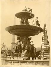 Paris, place de la Concorde, rénovation des fontaines Vintage silver print Tir