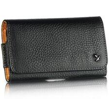 Black Genuine Leather Case Clip Luxmo Horizontal Pouch for Motorola Droid 4