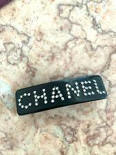 CHANEL VIP gift barrette hair clipBLACK rhinestones