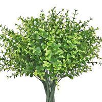 8pcs Artificial Shrubs Faux Plastic Leafy Greenery Imitation Plants for Home Dec