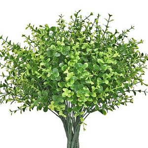16pcs Artificial Shrubs Faux Plastic Leafy Greenery Imitation Plants for Decor