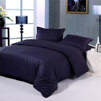 Navy Blue Striped Cotton Quilt/Duvet/Doona Cover Set Queen/King Size Bedding Set