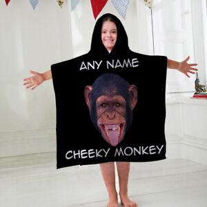 Kids Personalised Hooded Towel Poncho Cheeky Monkey Childrens Bathrobe Swim