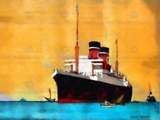 Blue Star Line Cruise Schiff Boot Aquarell Poster Kunstdruck 438py