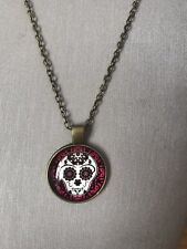 Mexican Sugar Skull Glass Pendant Necklace BronzeChain - Steampunk Witch Goth
