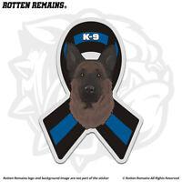 German Shepherd Police Sheriff K-9 Blue Line Ribbon Decal Sticker Dog feb