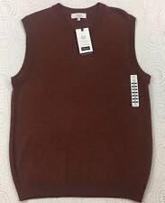 Turnbury Biella Mens Sweater Vest M Medium Russet Heather Brown Merino Wool New