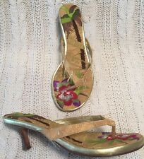 Beverly Feldman Too Much Is Not Enough Sandals 38/8 Tan/gold Excellent Conditio