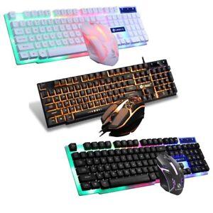 RGB Gaming Keyboard Computer Desktop and Mouse Combo Ergonomic LED Light Backlit