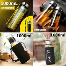 New 800/1000/1500ml Large Capacity Glass Water Bottle Tea Infuser Travel Mug Cup