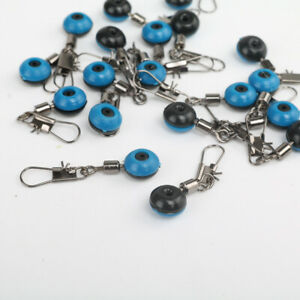 100pcs Blue Fishing Line to Hook Clip Connector Swivels Shank Clip Connector lot