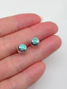 925 Sterling Silver Round Turquoise Stud Earrings 6.5mm