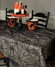 "Halloween Spider Web Table Topper by Heritage Lace, 60"" x 60"" Black Lace, One"