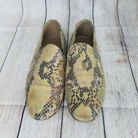 BARNEYS New York Snakeskin Flats Vtg Women's Shoes Size 7 or 37.5 Made In Italy