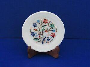 """5 """" Marmor Platte Pietra Dura Kunst Halbedelstein Handmade Heim Dekor"""