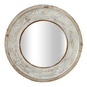 WALL MIRROR 60cm Round Carved Timber Shabby Chic Whitewash Art HOME French Decor