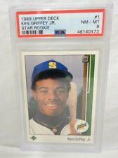 KEN GRIFFEY JR 1989 STAR ROOKIE UPPER DECK FRESH GRADED PSA 8 NM-MT CARD #1 (73