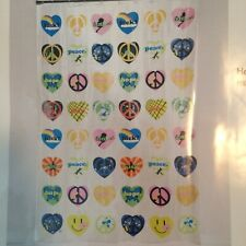 Heartbreaker PEVA Shower Curtain Hearts Peace Signs Boho Chic Woodstock Hippie