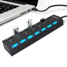 USB 2.0 Multi HUB 7Port Splitter Expansion Cable Adapter Speed Laptop PC J5N9