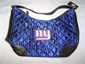 "New York Giants Quilted Hobo Purse Large Handbag 10 x 5 x 8.5"""