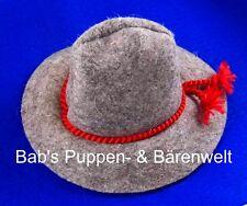 Tirolerhut aus Filz grau ca. 6,5 cm Innendurchmesser - rotes Hutband