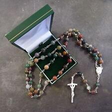 Green shades semi precious stone rosary beads 58cm length boxed Catholic silver