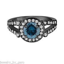 ENHANCED FANCY BLUE DIAMOND ENGAGEMENT RING 14K BLACK GOLD 1.54 CARAT HALO PAVE
