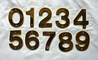 """Decorlux Solid Brass House Numbers 5"""" 0 1 2 3 4 5 6 7 8 9 POLISHED BRASS NEW"""
