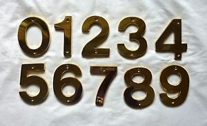 "Decorlux Solid Brass House Numbers 5"" 0 1 2 3 4 5 6 7 8 9 POLISHED BRASS NEW"